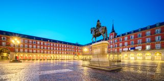 Morning Light at Plaza Mayor in Madrid. Spain Royalty Free Stock Images