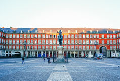 Morning Light at Plaza Mayor in Madrid , Spain Royalty Free Stock Images