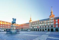 Morning Light at Plaza Mayor in Madrid , Spain Stock Photos