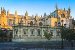 Seville Cathedral in Seville city, Andalusia region, Spain. Morning light on Seville Cathedral in Seville city, Andalusia region, Spain royalty free stock image