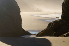 Morning light and shadows, Oregon beach Stock Images