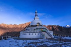 Morning at Shanti stupa in Leh. Morning light at Shanti stupa in Leh,Ladakh,Kashmir,India stock images