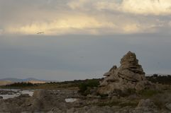 Morning clouds light up above the South Tufa area of Mono Lake. stock photography