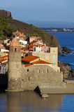 Morning lights on the coastal church of Collioure Stock Photo
