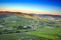Morning lights and colors over Beaujolais land, France Royalty Free Stock Image