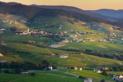 Morning lights and colors over village of Beaujolais, France royalty free stock photography