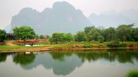 Morning at limestone mountains of Vang Vieng village,Laos. Day time stock footage