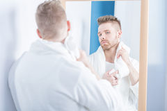 Morning look in the mirror Stock Photos