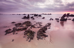 Morning Low tide. Sunrise sand beach near the Noja town, Cantabr Royalty Free Stock Image