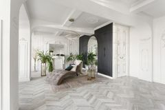 Morning in luxurious light interior in hotel. Bright and clean interior design of a luxury living room with parquet wood. Morning in luxurious light interior in stock photos