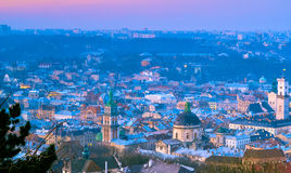 Morning in Lviv 4. Sunrise in the Lviv from the High Castle Stock Photography