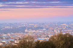 Morning in Lviv 11. Sunrise in the Lviv from the High Castle Stock Photos