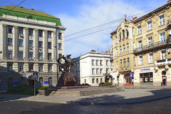 Morning Lviv, Ukraine. Lviv, Ukraine - October 02, 2016: The square with a monument in the morning Stock Images