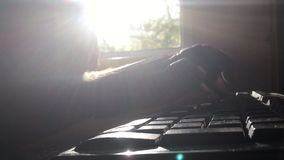 Morning man is typing on the keyboard. Time lapse. Hd stock video