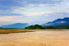 Morning on Manu River. Early morning light on Manu River in Manu National Park, Peru Royalty Free Stock Photo