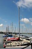 Morning at the marina. Boats docked at a local marina Stock Photos