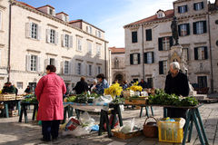 Daily, morning market in Dubrovnik, Croatia Royalty Free Stock Photography