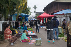 Morning market at luang prabang Royalty Free Stock Photography