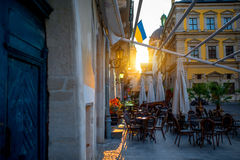 Morning market square in Lviv Stock Photos