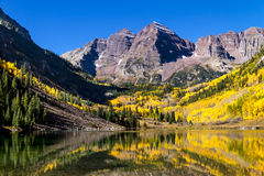 Morning at Maroon Bells Aspen CO royalty free stock photos