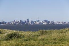 Morning Meadow View Across San Francisco Bay Stock Photos