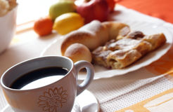 Morning meal. Coffee,croissant and fruit Royalty Free Stock Images