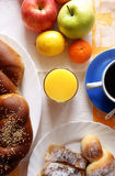 Morning meal. Coffee,croissant ,bread,juice and fruit Royalty Free Stock Photography