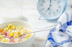 Morning meal, Colorful cereal with milk Stock Images