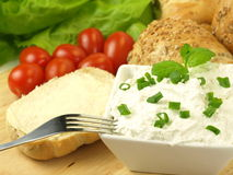 Morning meal with cottage cheese. royalty free stock photos