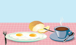 Morning meal fried eggs coffee and bread with mask Royalty Free Stock Photo