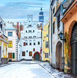 Ancient part of Riga with oldest medieval buildings. Morning in medieval part of Riga - famous tourist city, Latvia, Europe royalty free stock photos