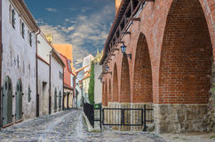 Morning at a medieval street in the old Riga city Stock Images