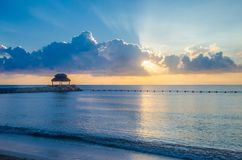 Morning at a mexican shore at Puerto Morelos royalty free stock images