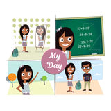 Morning before the mirror, school, walk, first love, meeting a guy. One day in the life of a schoolgirl the morning before the mirror, school, walk, first love Royalty Free Stock Photography