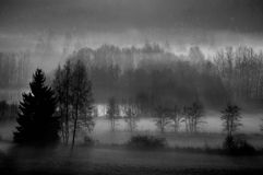 Morning mist. A shot of early morning misty fields in black and white Stock Photos