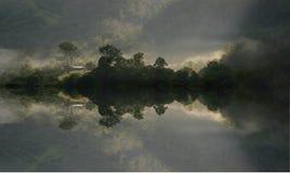 Morning Mist. Digial art of australian homestead surrounded in morning mist from the rainforest stock illustration