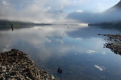 Morning mist on Alouette Lake 2. View from the camping spot on Alouette Lake - Vancouver-BC. June 2013 Royalty Free Stock Photos