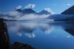Morning mist on Alouette Lake 4. View from the camping spot on Alouette Lake - Vancouver-BC. June 2013 Stock Photography