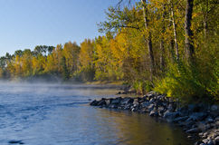 Morning Mist on the Autumn River Royalty Free Stock Images