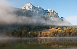 Morning mist in bavarian alps Royalty Free Stock Photo