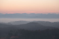 Morning mist at Betong - Yala, Thailand. Betong as know as Mist Town stock image
