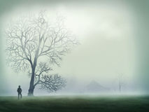Morning Mist - Digital Painting. Digital painting of a silhouetted person standing in a field next to an old dead tree surrounded by mist Royalty Free Stock Photo