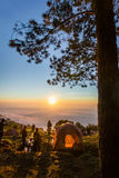 Morning mist on doi angkhang mountain, Chiang Mai, Thailand. Royalty Free Stock Images