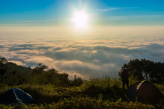 Morning mist on doi angkhang mountain, Chiang Mai, Thailand. Stock Images