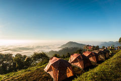 Morning mist on doi angkhang mountain, Chiang Mai, Thailand. Stock Photo