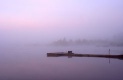 Lake Seliger: morning mist moorage Stock Photos