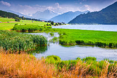 Morning mist on the lake Muta Royalty Free Stock Photography