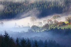 Morning mist landscape royalty free stock photos
