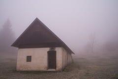 Morning mist on meadow Vogar Stock Image