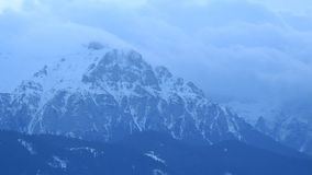 Morning mist into the mountain. Cold morning day up in the mountains during winter stock video footage